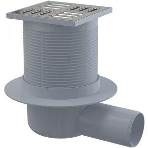 Alcaplast Podlahová vpusť 105 × 105/50 bočná, mriežka nerez, vodnázápachová uzávera APV1