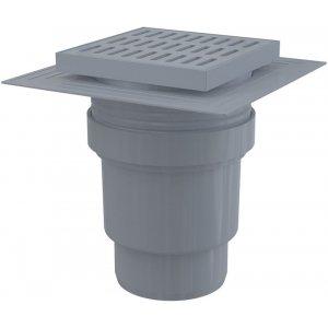 Alcaplast Podlahová vpusť 150 × 150/110 priama, mriežka šedá, límec 2. úrovne izolácie, vodnázápachová uzávera APV11