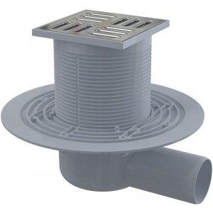Alcaplast Podlahová vpusť 105 × 105/50 bočná, mriežka nerez, vodnázápachová uzávera APV1311