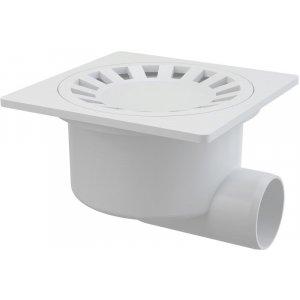 Alcaplast Podlahová vpusť 150 × 150/50 bočná, mriežka biela, vodnázápachová uzávera APV15