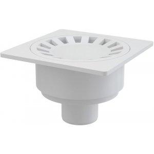 Alcaplast Podlahová vpusť 150 × 150/50 priama, mriežka biela, vodnázápachová uzávera APV16