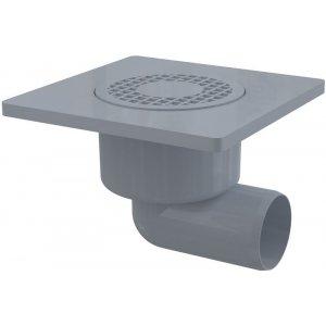 Alcaplast Podlahová vpusť 150 × 150/50 bočná, mriežka šedá, vodnázápachová uzávera APV3