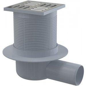 Alcaplast Podlahová vpusť 105 × 105/50 bočná, mriežka nerez, kombinovanázápachová uzávera SMART APV31