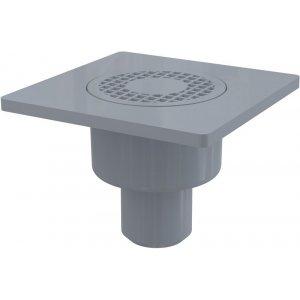 Alcaplast Podlahová vpusť 150 × 150/50 priama, mriežka šedá, vodnázápachová uzávera APV4