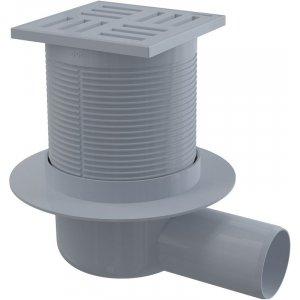 Alcaplast Podlahová vpusť 105 × 105/50 bočná, mriežka šedá, vodnázápachová uzávera APV5111