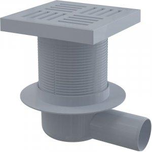 Alcaplast Podlahová vpusť 150 × 150/50 bočná, mriežka šedá, vodnázápachová uzávera APV5211