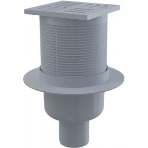 Alcaplast Podlahová vpusť 105 × 105/50 priama, mriežka šedá, vodnázápachová uzávera APV6111
