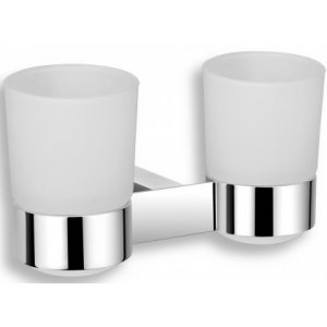 Novaservis Titania Kate Dvojitý držiak zubných kefiek a pasty sklo 128x116x95mm, chróm 66557.0