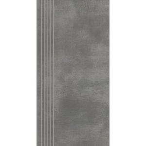 Paradyz Tecniq 29,8x59,8 cm grafit matný RN298X5981TECNGTSPM Schodisková dlažba s výrezmi