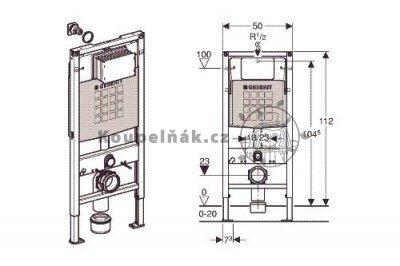 Geberit Duofix 112 cm 111.300.00.5 Pro závěsné WC se splachovací nádržkou Sigma 12 cm