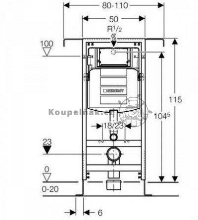 Geberit Duofix 111.355.00.5 Special pro závěsné WC se splachovací nádržkou Sigma 12 cm