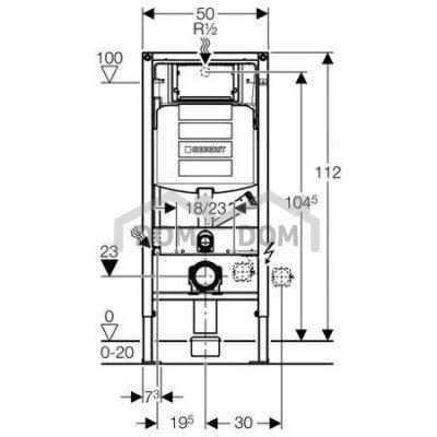 Geberit Duofix Pre závesné WC so splachovacou nádržkou Sigma 12 cm, s prípravou pre odsávanie zápachu 111.367.00.5