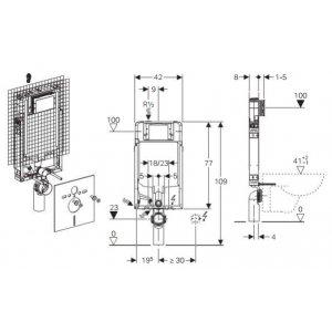Geberit Kombifix Prvok pre závesné WC so splachovacou nádržkou Sigma 8 cm  110.790.00.1