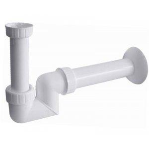 """Sapho Umývadlový sifón s prevlečnou matkou nízky 1""""1/4, 40 mm, biela, plast CV1025"""
