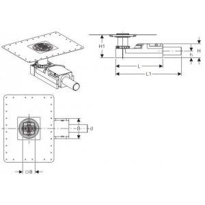 Geberit 154.052.00.1 Sprchový podlahový odtok, zápachový uzávěr 30 mm, tloušťka podlahy od 65 mm