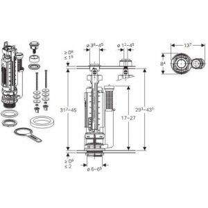 Geberit Splachovací ventil Typ 290, 1-M lesklý chróm 282.050.21.2