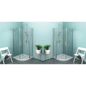 Sapho ZOOM LINE štvrťkruhová sprchová zástena, číre sklo, rôzne prevedenia