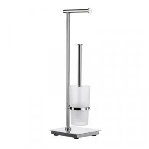 Smedbo Outline line Držiak toaletného papiera / WC súprava 600 mm, leštená nerezová oceľ / matné sklo FK603