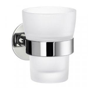 Smedbo Time Pohár na zubné kefky s držiakom leštený chróm / matné sklo YK343