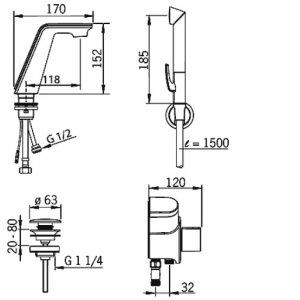 HANSA ALESSI Elektronická batéria pre umývadlo, DN 15 chróm / biela 07742201