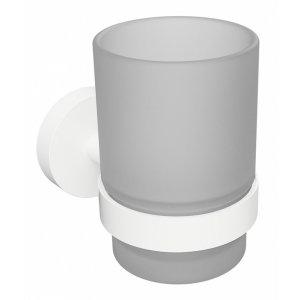 Bemeta WHITE Držiak zubných kefiek sklenený 70x95x105 mm, biela 104110014