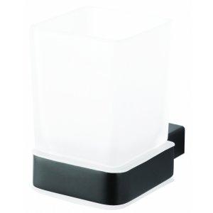 Bemeta NERO Držiak zubných kefiek sklený 64x100x97 mm, čierna 135011010