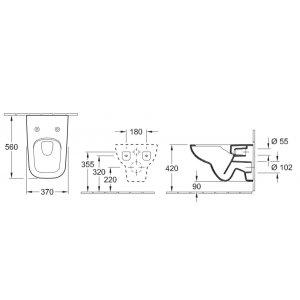 VÝPRODEJ Villeroy & Boch klozet bez vnitřního okraje Joyce 370x560 mm, keramika, 5607R2R1 WC + sedátko s poklopem, bílá alpin ceramicplus