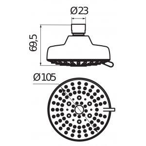 VÝPREDAJ Jika Rio Hlavová sprcha 100x100mm, chróm Typ: 3.671R.1.004.215.1 3 funkcie (H3671R10042151)