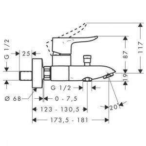 VÝPREDAJ Hansgrohe Metris Páková vaňová batéria na stenu chróm 31480000