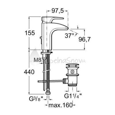 VÝPREDAJ Roca umývadlová stojančeková páková batéria s automatickou zátkou, chróm  A5A3050C00 (75A3050C00)