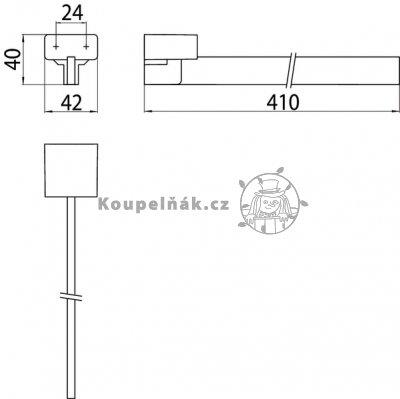 VÝPRODEJ Emco Loft 0550 001 42 Držák na ručníky, jednoramenný chrom 410x42x40 mm (055000142)