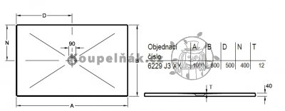 VÝPRODEJ Villeroy Boch 6229J301 sprchová vanička 1000 x 800 x 40 mm bílá s protiskluzem