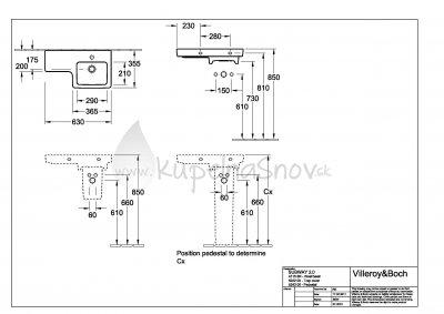 VÝPREDAJ Villeroy & Boch Subway 2.0 umývadlo 630x355 mm, keramika, 41156R01 umývadielko vpravo, biela alpin
