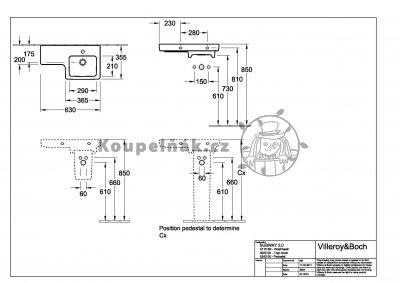 VÝPRODEJ Villeroy Boch Subway 2.0 umyvadlo 630x355 mm, keramika, 41156R01 umývátko vpravo, bílá alpin