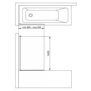 IDEAL Standard Connect 2 Vaňová zástena hranatá 800 x 1400 mm T9923EO