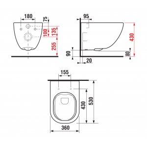 Jika Mio Závesný klozet bez oplachového kruhu 530x350x430 mm, keramika