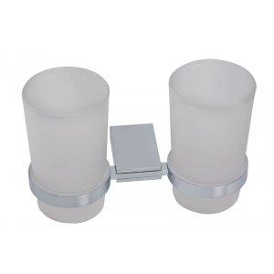 Novaservis Metalia 9 Dvojitý držiak kefiek a pasty - sklo chróm 0957.0