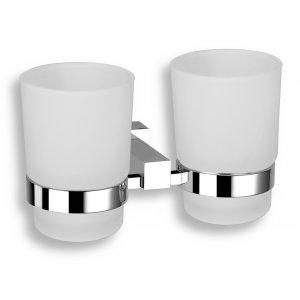 Novaservis Titania - Anet Dvojitý držiak zubných kefiek a pasty sklo 180x95x95mm, chróm 66357.0