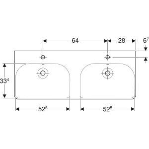 Geberit Smyle Square Dvojumývadlo 1200x165x480 mm, rôzne prevedenia