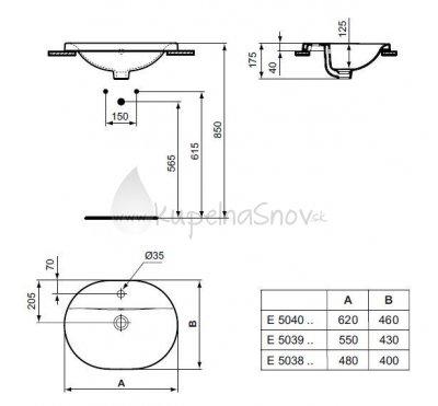 VÝPREDAJ Ideal Standard Connect Zápustné umývadlo oválne Biela E503801 rozmer 480 x 400 x 175 mm