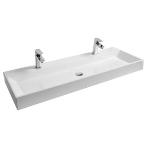 Ravak Natural Umývadlo DUO 1200x450 mm, biele bez prepadu s otvorom XJO01212000