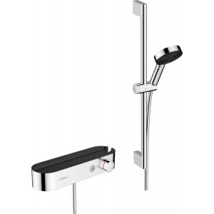 HANSGROHE Pulsify Select Sprchový systém 105 3jet Relaxation s ručnou sprchou, termostatom, sprchovou tyčou, jezdcom a sprchovou hadicou rôzne prevedenia